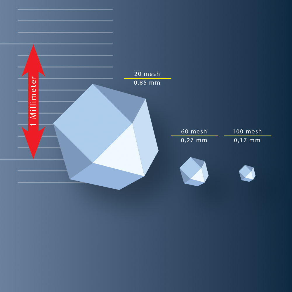 Illustration sizes of diamond grains